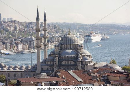 View of the New Mosque, the Golden Horn and the Bosphorus. Istanbul. Turkey.