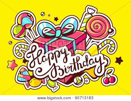 Vector Illustration Of Gift Box And Confection  With Text Happy Birthday On Yellow Background With S