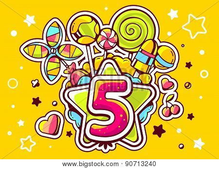 Vector Illustration Of Green Star And Pile Of Sweets With Number Five On Yellow Background With Star