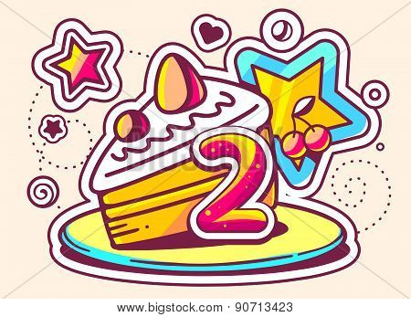 Vector Illustration Of Piece Of Cake On A Plate With Star And Number Two On Light Background.