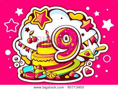 Vector Illustration Of Cake With Candle, Sweets And Flags With Number Nine On Red Background With St
