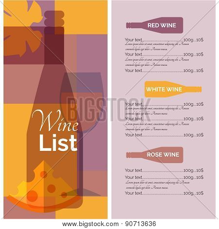 Wine menu list stencil print