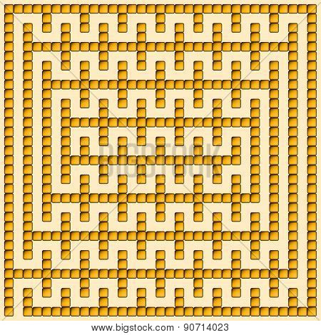 Orange Square Maze-mosaic (16X16)