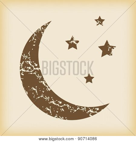 Grungy crescent moon icon