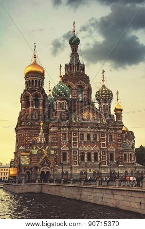 Church On Spilled Blood In The Late Evening At Twilight. Saint Petersburg. Russia