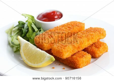 Golden fried fish fingers.