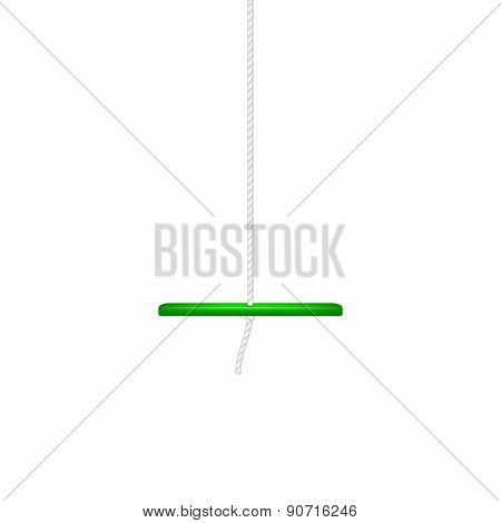 Wooden swing in green design hanging on white rope