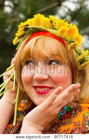 Cheeked Russian Cheerful Young Woman In A Wreath Of Fresh Dandelion, Flirt, Flirty Look