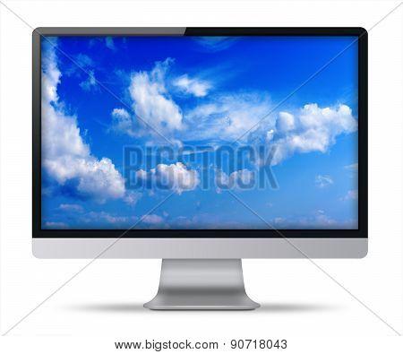 Modern Flat Screen Computer Monitor.
