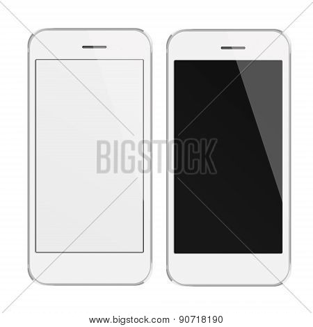 Realistic Mobile Phones With Blank And Black Screen.