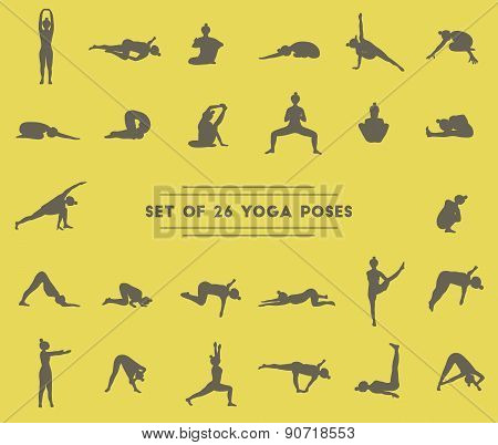 Set Of Twenty Six Yoga Poses