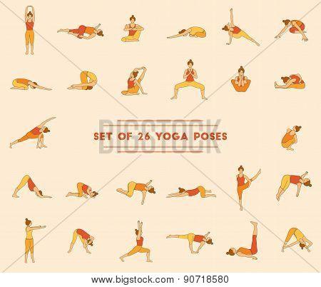 Set Of Twenty Six Yoga Poses