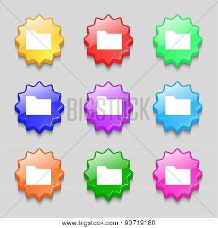 Document Folder Icon Sign. Symbol On Nine Wavy Colourful Buttons. Vector