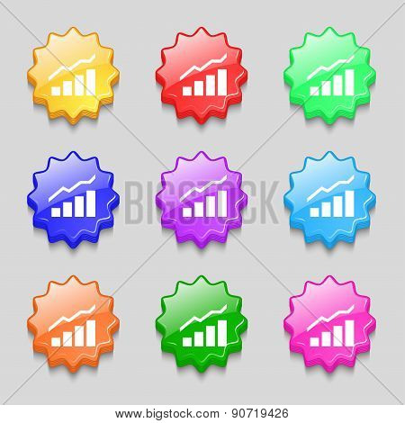 Growth And Development Concept. Graph Of Rate Icon Sign. Symbol On Nine Wavy Colourful Buttons. Vect