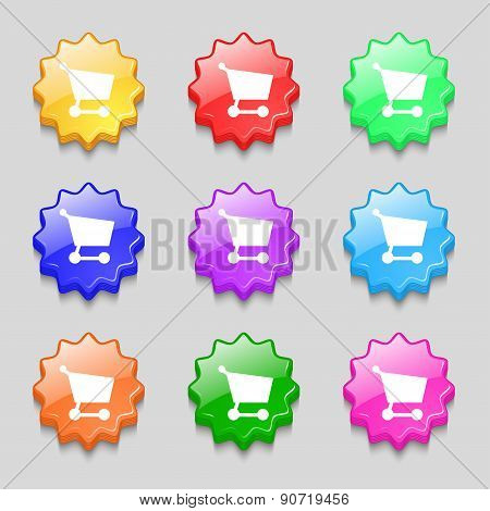 Shopping Basket Icon Sign. Symbol On Nine Wavy Colourful Buttons. Vector