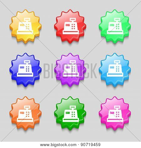 Cash Register Icon Sign. Symbol On Nine Wavy Colourful Buttons. Vector