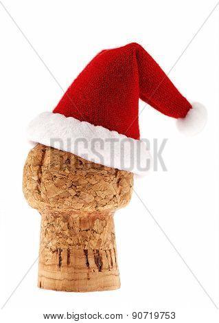Champagne Cork In Christmas Santa Hat