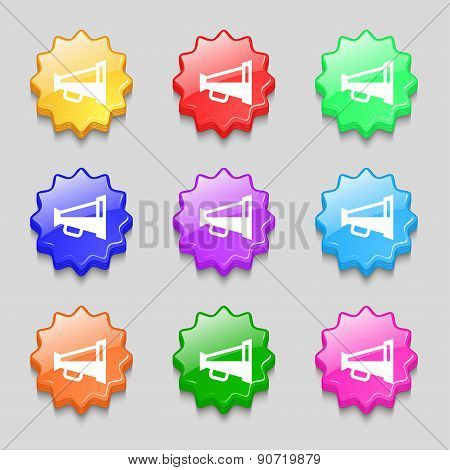 Megaphone Soon, Loudspeaker Icon Sign. Symbol On Nine Wavy Colourful Buttons. Vector