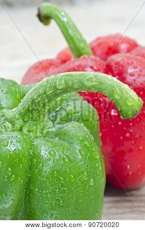 Green Pepper With Water Drop