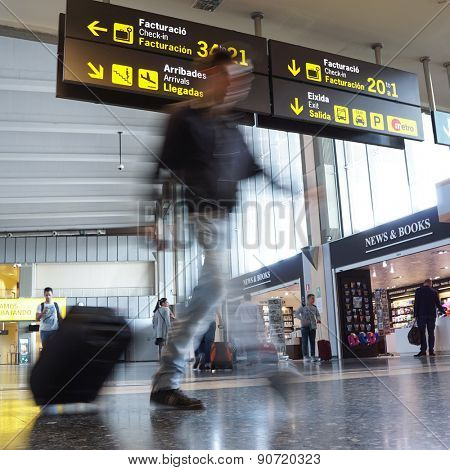 VALENCIA, SPAIN - MAY 1, 2015: An airline passenger inside the Valencia Airport. About 4.59 million passengers passed through the airport in 2013.