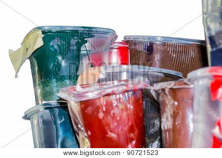 Old ink in the plastic jars