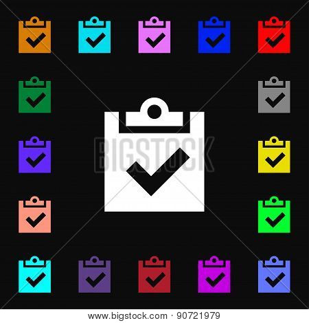 Check Mark, Tik  Icon Sign. Lots Of Colorful Symbols For Your Design. Vector