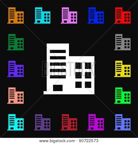 High-rise Commercial Buildings And Residential Apartments  Icon Sign. Lots Of Colorful Symbols For Y