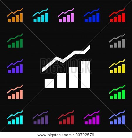 Growth And Development Concept. Graph Of Rate  Icon Sign. Lots Of Colorful Symbols For Your Design.