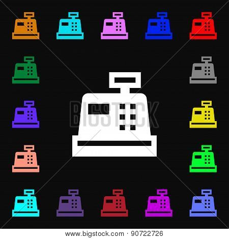 Cash Register  Icon Sign. Lots Of Colorful Symbols For Your Design. Vector