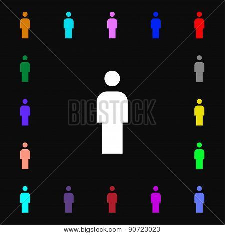 Human, Man Person, Male Toilet  Icon Sign. Lots Of Colorful Symbols For Your Design. Vector