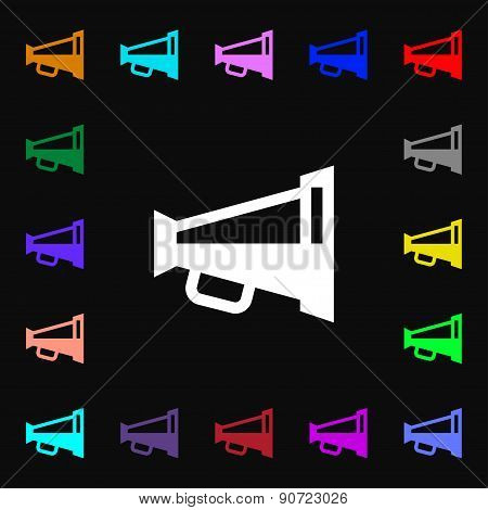 Megaphone Soon, Loudspeaker  Icon Sign. Lots Of Colorful Symbols For Your Design. Vector
