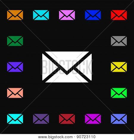 Mail, Envelope, Message  Icon Sign. Lots Of Colorful Symbols For Your Design. Vector