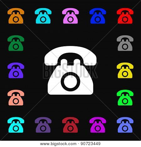 Retro Telephone  Icon Sign. Lots Of Colorful Symbols For Your Design. Vector