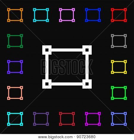 Crops And Registration Marks  Icon Sign. Lots Of Colorful Symbols For Your Design. Vector