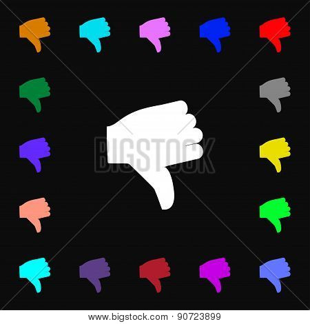 Dislike, Thumb Down  Icon Sign. Lots Of Colorful Symbols For Your Design. Vector