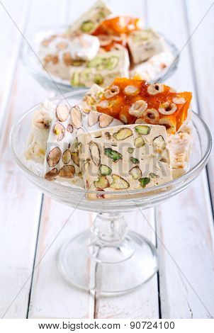 Honey And Different Sorts Of Nut Nougat
