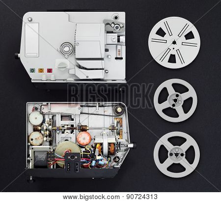 Opened Film Projector And Film Reels