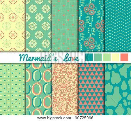 Set of 10 simple seamless patterns. Mermaids Love color palette.