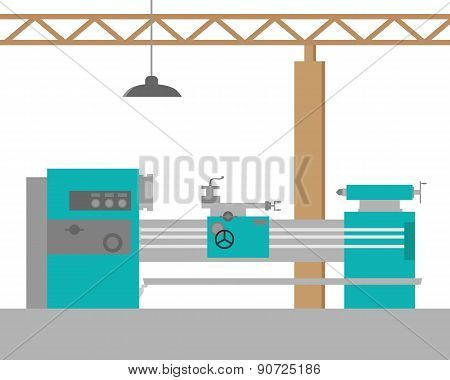 The metal lathe in the workshop. Workplace. Flat design. Vector illustration