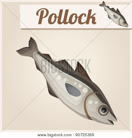 Fresh pollock fish. Detailed Vector Icon
