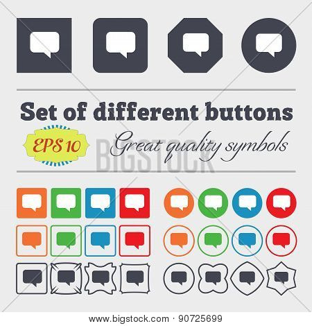 Speech Bubble, Chat Think  Icon Sign Big Set Of Colorful, Diverse, High-quality Buttons. Vector
