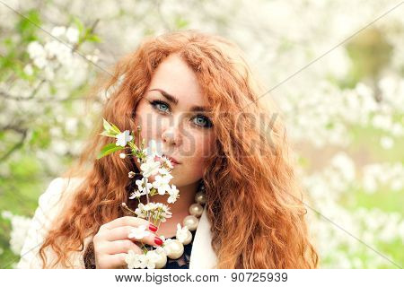 Woman And Cherry Blossoms