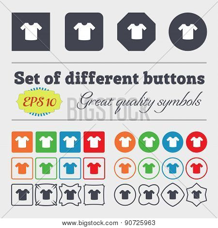 T-shirt, Clothes  Icon Sign Big Set Of Colorful, Diverse, High-quality Buttons. Vector