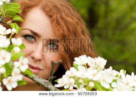 Woman And Apple Blossoms