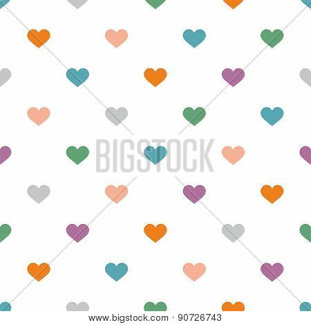 Tile vector pattern with pastel hearts on white background