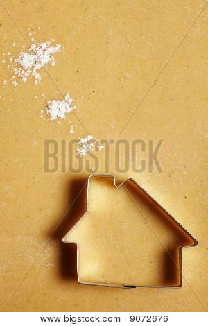 Cookie House With Flour Clouds