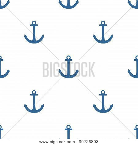 Tile sailor vector pattern with blue anchor on white background