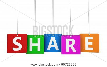 Share Sign Colorful Tags