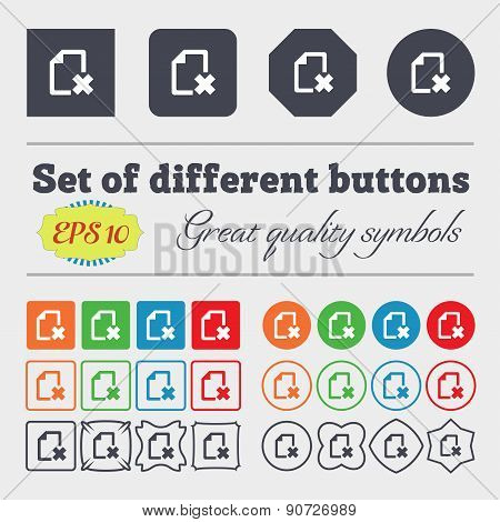 Delete File Document  Icon Sign Big Set Of Colorful, Diverse, High-quality Buttons. Vector