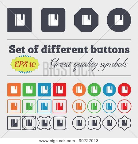 Book Bookmark  Icon Sign Big Set Of Colorful, Diverse, High-quality Buttons. Vector
